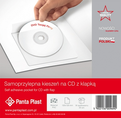 Samoprzylepna Kieszen na CD z Klapka